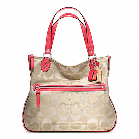 COACH F22455 POPPY SIGNATURE METALLIC OUTLINE HALLIE TOTE ONE-COLOR