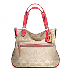 COACH F22455 - POPPY SIGNATURE METALLIC OUTLINE HALLIE TOTE ONE-COLOR
