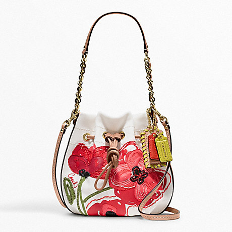 COACH F22480 POPPY PLACED FLOWER SMALL DRAWSTRING POUCH ONE-COLOR