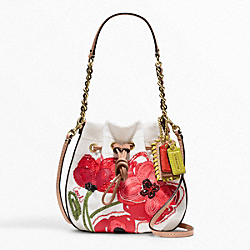 COACH F22480 Poppy Placed Flower Small Drawstring Pouch
