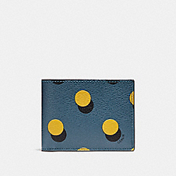 SLIM BILLFOLD WALLET WITH OPTICAL DOT PRINT - f22492 - MUSTARD MULTI DOT