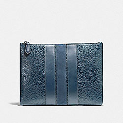 COACH MEDIUM POUCH WITH VARSITY STRIPE - DENIM - F22499