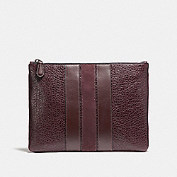 COACH MEDIUM POUCH WITH VARSITY STRIPE - OXBLOOD - F22499