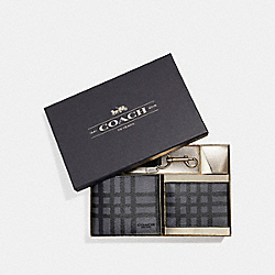 COACH F22534 3-in-1 Wallet With Wild Plaid Print GRAPHITE/BLACK PLAID