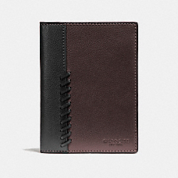 PASSPORT CASE WITH BASEBALL STITCH - f22538 - OXBLOOD/BLACK
