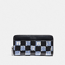 COACH F22542 Accordion Wallet With Graphic Checker Print DUSK MULTI CHECKER