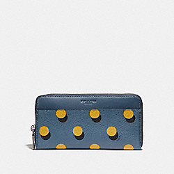 ACCORDION WALLET WITH OPTICAL DOT PRINT - f22543 - MUSTARD MULTI DOT