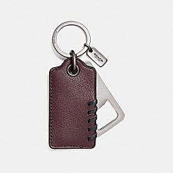 BASEBALL STITCH BOTTLE OPENER KEY FOB - f22544 - OXBLOOD