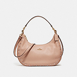 COACH F22548 - EAST/WEST HARLEY HOBO WITH LACQUER RIVETS IMITATION GOLD/NUDE PINK