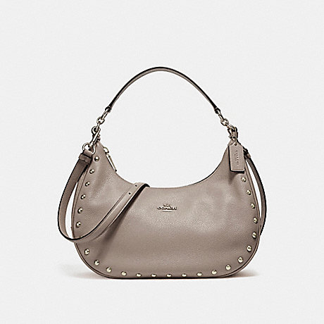 COACH f22548 EAST/WEST HARLEY HOBO WITH LACQUER RIVETS SILVER/FOG