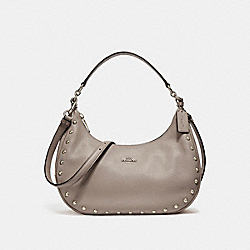 EAST/WEST HARLEY HOBO WITH LACQUER RIVETS - f22548 - SILVER/FOG