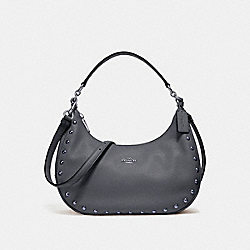 EAST/WEST HARLEY HOBO WITH LACQUER RIVETS - f22548 - SILVER/MIDNIGHT