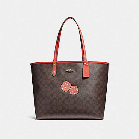 COACH f22551 REVERSIBLE CITY TOTE WITH DICE MOTIF IMITATION GOLD/BROWN