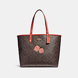 REVERSIBLE CITY TOTE WITH DICE MOTIF - f22551 - IMITATION GOLD/BROWN