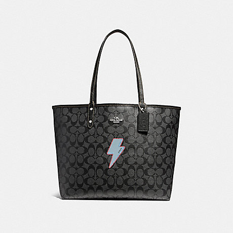 COACH f22552 REVERSIBLE CITY TOTE WITH LIGHTNING BOLT MOTIF SILVER/BLACK SMOKE