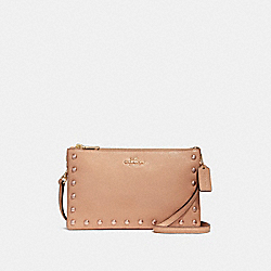 LYLA CROSSBODY WITH LACQUER RIVETS - f22556 - IMITATION GOLD/NUDE PINK