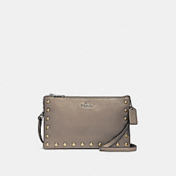 LYLA CROSSBODY WITH LACQUER RIVETS - f22556 - SILVER/FOG