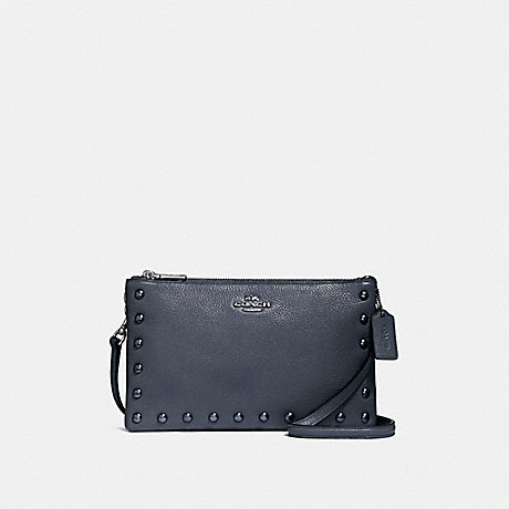 COACH f22556 LYLA CROSSBODY WITH LACQUER RIVETS<br>蔻驰莱拉包包漆铆钉 银/午夜