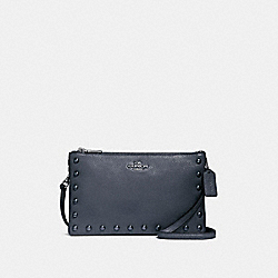 LYLA CROSSBODY WITH LACQUER RIVETS - f22556 - SILVER/MIDNIGHT