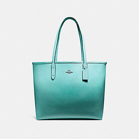 COACH f22560 OPEN CITY TOTE SILVER/SEA GREEN