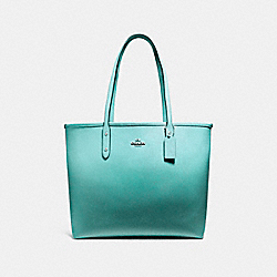 COACH F22560 - OPEN CITY TOTE SILVER/SEA GREEN