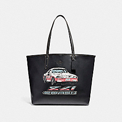 OPEN CITY TOTE WITH CAR MOTIF - f22692 - ANTIQUE NICKEL/BLACK