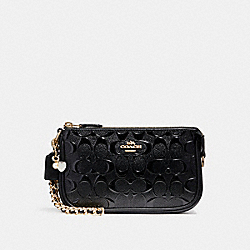 COACH F22698 - LARGE WRISTLET 19 IN SIGNATURE LEATHER WITH CHAIN BLACK/BLACK/LIGHT GOLD