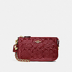 COACH F22698 Large Wristlet 19 In Signature Leather With Chain CHERRY /LIGHT GOLD