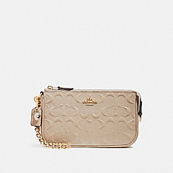COACH F22698 Large Wristlet 19 With Chain LIGHT GOLD/PLATINUM