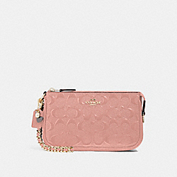 COACH F22698 - LARGE WRISTLET 19 IN SIGNATURE LEATHER WITH CHAIN MELON/LIGHT GOLD