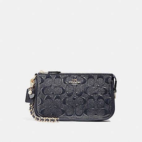 COACH F22698 LARGE WRISTLET 19 IN SIGNATURE LEATHER WITH CHAIN MIDNIGHT/LIGHT-GOLD