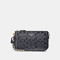 COACH F22698 - LARGE WRISTLET 19 IN SIGNATURE LEATHER WITH CHAIN MIDNIGHT/LIGHT GOLD