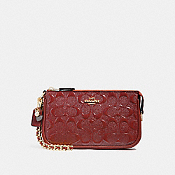 COACH F22698 Large Wristlet 19 With Chain LIGHT GOLD/DARK RED