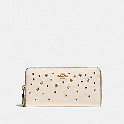 COACH F22700 Accordion Zip Wallet With Stardust Studs LIGHT GOLD/CHALK