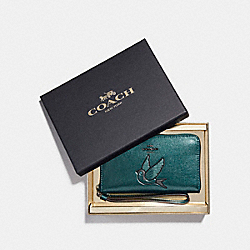 COACH F22706 Boxed Phone Wallet With Glitter Bird Patch BLACK ANTIQUE NICKEL/METALLIC DARK TEAL