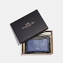 COACH F22713 Boxed Corner Zip Wristlet With Metallic Colorblock SILVER/BLACK SMOKE
