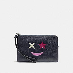 COACH F22740 Corner Zip Wristlet With Glitter Star SILVER/MULTICOLOR 1