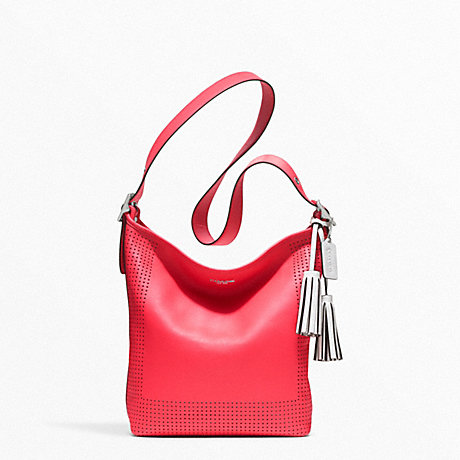 COACH f22762 PERFORATED LEATHER DUFFLE SILVER/WATERMELON/SNOW