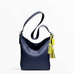 PERFORATED LEATHER DUFFLE - f22762 - SILVER/NAVY/BRIGHT CITRINE
