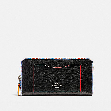 COACH ACCORDION ZIP WALLET WITH EDGEPAINT - SILVER/BLACK MULTI - f22763