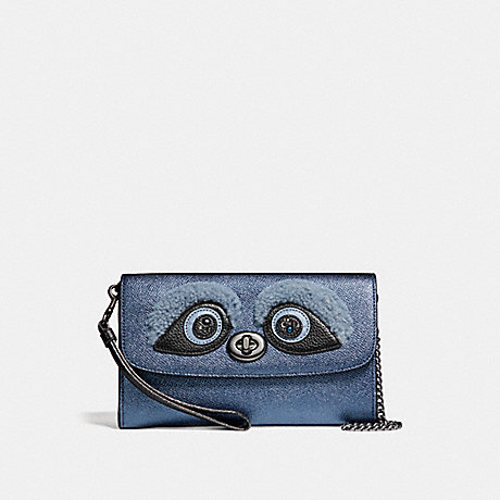 COACH f22769 CHAIN CROSSBODY BLACK ANTIQUE NICKEL/METALLIC NAVY