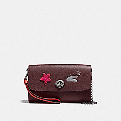 CHAIN CROSSBODY - f22771 - BLACK ANTIQUE NICKEL/OXBLOOD 1