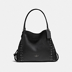 EDIE SHOULDER BAG 31 WITH PRAIRIE RIVETS - F22794 - BLACK/BLACK COPPER