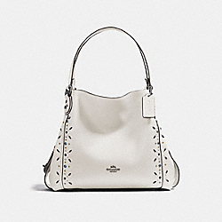EDIE SHOULDER BAG 31 WITH PRAIRIE RIVETS - F22794 - CHALK/LIGHT ANTIQUE NICKEL