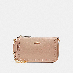 COACH F22813 Large Wristlet 19 With Lacquer Rivets IMITATION GOLD/NUDE PINK