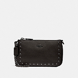 COACH F22813 Large Wristlet 19 With Lacquer Rivets ANTIQUE NICKEL/BLACK