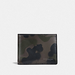 COACH F22823 Slim Billfold Wallet With Wild Beast Print CHARCOAL