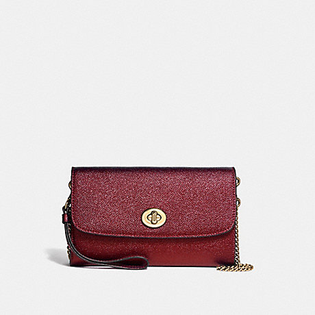 COACH F22828 CHAIN CROSSBODY LIGHT-GOLD/METALLIC-CHERRY