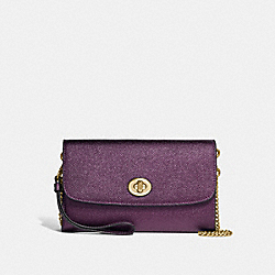 COACH F22828 Chain Crossbody METALLIC RASPBERRY/LIGHT GOLD
