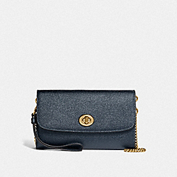 COACH F22828 Chain Crossbody METALLIC DENIM/LIGHT GOLD